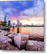 Lakefront Sunset On Rocks Metal Print