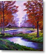 Lakeside Cabin Metal Print by David Lloyd Glover