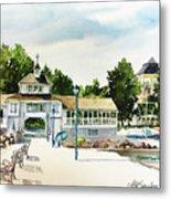 Lakeside Dock And Pavilion Metal Print