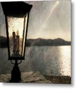 Lakeside Lantern Metal Print