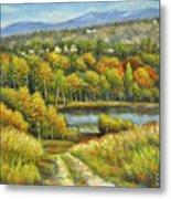 Lakeside Trail In Autumn Metal Print