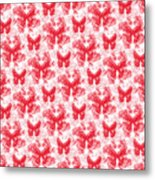 Lalabutterfly Red And White Metal Print
