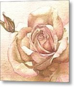 Lalique Rose Metal Print