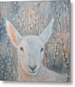 Lamb In The Willows Metal Print
