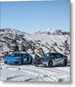 Lamborghini Aventador Sv And Ferrari F12 Tdf Metal Print