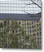 Lamp Post With Building Reflection Metal Print