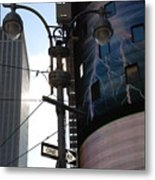 Lampost And Lightning Metal Print