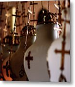Lamps Inside The Church Of The Holy Sepulchre, Jerusalem Metal Print