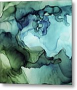 Land And Water Abstract Ink Painting Metal Print