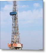 Land Oil Drilling Rig With Equipment On Oilfield Metal Print