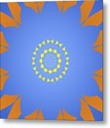 Landscape Abstract Blue, Orange And Yellow Star Metal Print
