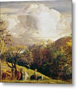 Landscape Figures And Cattle Metal Print