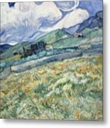 Landscape From Saint Remy At Wheat Fields  Van Gogh Series   By Vincent Van Gogh Metal Print