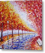 Landscape Painting Gold Alley Metal Print