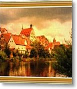 Landscape Scene - Germany. L B With Decorative Ornate Printed Frame. Metal Print