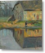 Landscape With A Barn Metal Print