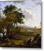 Landscape With A Hunting Party Nicolaes Claes Pietersz Berchem Metal Print