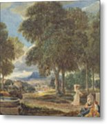 Landscape With A Man Washing His Feet At A Fountain Metal Print