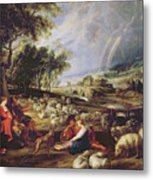 Landscape With A Rainbow Metal Print by Rubens