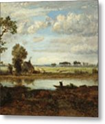 Landscape With Boatman Metal Print