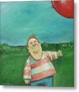 Landscape With Boy And Red Balloon Metal Print