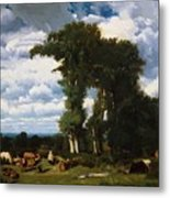 Landscape With Cattle At Limousin 1837 Metal Print