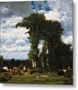 Landscape With Cattle At Limousin Metal Print