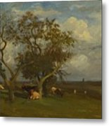 Landscape With Cows Metal Print