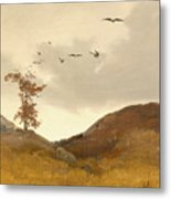 Landscape With Crows  Metal Print