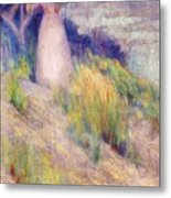 Landscape With Figure In Pink Metal Print