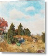Landscape With Fox Metal Print