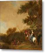 Landscape With Hunting Party Metal Print