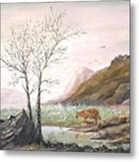 Landscape With Mountain Lion Metal Print