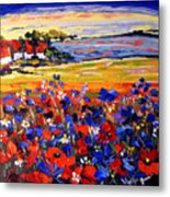 Landscape With Poppies Metal Print