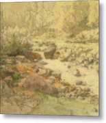 Landscape With Rocks In A River Metal Print
