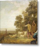 Landscape With Shepherds And Shepherdesses Near A Well Metal Print