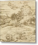 Landscape With St. Theodore Overcoming The Dragon Metal Print