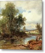 Landscape With Stream And Decorative Figures Metal Print