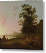 Landscape With The Flight Into Egypt Metal Print