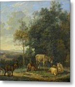 Landscape With Two Donkeys, Goats And Pigs Metal Print