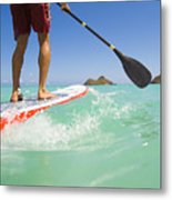 Lanikai Stand Up Paddling Metal Print