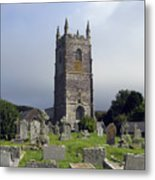 Lansallos Church Cornwall Metal Print