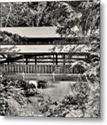 Lanterman's Mill Covered Bridge Black And White Metal Print