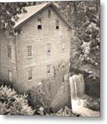 Lanterman's Mill In Mill Creek Park Black And White Metal Print