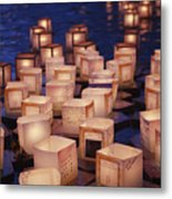 Lantern Floating Ceremony Metal Print