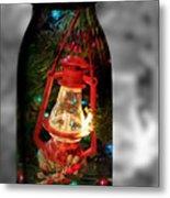 Lantern In Glass Jar Metal Print