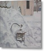 Lantern In The Snow Metal Print