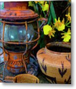 Lantern With Baskets Metal Print