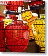 Lanterns In Market Place Metal Print