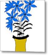Blue Pointed Flowers Metal Print